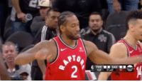 Kawhi gets booed on 1st bucket and Danny Green couldn't hold back a smile.: 1ST  4711 Kawhi gets booed on 1st bucket and Danny Green couldn't hold back a smile.