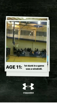 Dunk, Memes, and Game: 1st dunk in a game  was a windmill.  @desmith4 At age 11, Dennis Smith Jr's 1st dunk in a game was a windmill!?!?! via @UAbasketball   https://t.co/h7RtZj4fbU