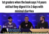 Willy Wonka, Willy Wonka & the Chocolate Factory, and Book: 1st graders when the book says7-8 years  old but they digest it in 2 days with  minimal diarrhea  LEGION  think of myself.as above the average person