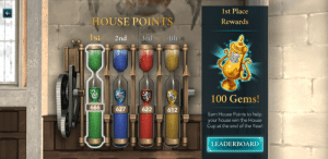 Of course it's Slytherin.: 1st Place  Rewards  HOUSE POINTS  Ist 2nd 3rd 4th  100 Gems!  627 622 612  Earn House Points to help  your house win the House  Cup at the end of the Year!  LEADERBOARD Of course it's Slytherin.