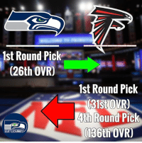 RUMOR: Sources say the Falcons and Seahawks are discussing swapping first-round picks. It's a trade many think will ultimately occur, in large part due to the relationship between Falcons HC Dan Quinn and his former employer. _________________________________ Rumors are the Falcons want to jump ahead of the Steelers, Packers and Cowboys to ensure themselves of a top-rated pass rusher. The name being floated as their target is Charles Harris of Missouri. _________________________________ Once they move back, the Seahawks will then target an OL. The name given to me is tackle Garett Bolles of Utah. Seahawks OL coach Tom Cable was on the Utes campus this past Sunday meeting with the team's top offensive line prospects. _________________________________ Rumors are the compensation for the swap is likely to end up being a fourth-round pick.: 1st Round Pick  (26th OVRO  SEATTLECHAWKS  1st Round Pick  31st OVR)  4th Round Pick  136th OVRO RUMOR: Sources say the Falcons and Seahawks are discussing swapping first-round picks. It's a trade many think will ultimately occur, in large part due to the relationship between Falcons HC Dan Quinn and his former employer. _________________________________ Rumors are the Falcons want to jump ahead of the Steelers, Packers and Cowboys to ensure themselves of a top-rated pass rusher. The name being floated as their target is Charles Harris of Missouri. _________________________________ Once they move back, the Seahawks will then target an OL. The name given to me is tackle Garett Bolles of Utah. Seahawks OL coach Tom Cable was on the Utes campus this past Sunday meeting with the team's top offensive line prospects. _________________________________ Rumors are the compensation for the swap is likely to end up being a fourth-round pick.