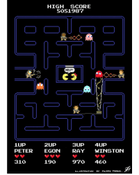 Who's Pac-Man gonna call? GHOSTBUSTERS! 👻 (Created by: Filippo Morini) ghostbusters pacman mspacman arcade videogames lootcrate: 1UP  PETER 310  HIGH SCORE  5051987  HELP!  2Up  SUP  4UP  ON RAY  WINSTON  190  970 460  ILLUSTRATION BY FILIPPO MORINI. Who's Pac-Man gonna call? GHOSTBUSTERS! 👻 (Created by: Filippo Morini) ghostbusters pacman mspacman arcade videogames lootcrate