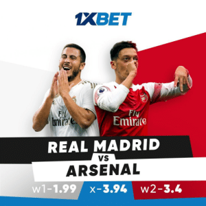 Arsenal, Memes, and Real Madrid: 1XBET  Fly  Emirate  E  bmirate  REAL MADRID  VS  ARSENAL  w1-1.99  w2-3.4  X-3.94 The Gunners will be looking to make it a clean sweep of victories against the 13-time European champions. Get involved by predicting the outcome of the match: https://t.co/53Dti3XhgI follow: @1xbet_Eng https://t.co/4HgWdrOC77