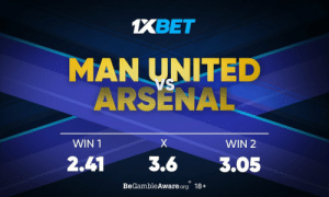 Arsenal, Memes, and Rivals: 1XBET  MAN UNITED  ARSENAL  SA  WIN 1  X  WIN 2  2.41  3.6  3.05  BeGambleAware.org 18+ At Old Trafford, Red Devils and the Gunners will battle it out in what is to be bound a fiery counter between two arch rivals. What are your predictions? Who are you backing? Get involved: https://t.co/fqRhvtXYDU follow: @1xbet_Eng https://t.co/4WhJfSJauu