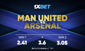 Arsenal, Memes, and Rivals: 1XBET  MAN UNITED  ARSENAL  X  WIN 2  WIN 1  2.41  3.6  3.05  BeGambleAware.org 18+ At Old Trafford, Red Devils and the Gunners will battle it out in what is to be bound a fiery counter between two arch rivals. What are your predictions? Who are you backing? Get involved: https://t.co/8qgkUho3m2 follow: @1xbet_Eng https://t.co/2gZOJ37Fqm