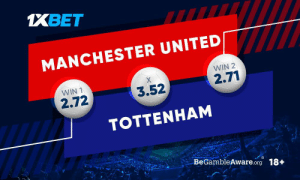 Memes, Manchester United, and Match: 1XBET  MANCHESTER UNITED  WIN 2  WIN 1  2.71  3.52  2.72  TOTTENHAM  BeGambleAware.org 18+ #TheRedDevils will face with Spurs, who now are headed by Mourinho. What are your predictions about the outcome of this match? Get involved by predicting: https://t.co/t0LGhw25RF Follow: @1xbet_Eng https://t.co/XVRIugznsS