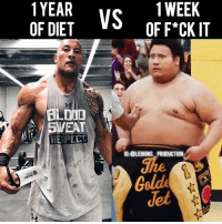 Clothes, Facebook, and Gym: 1YEAR  1 WEEK  VS  OF DIET  OF F*CK IT  DUD  EAT  RE PECT  IG: @LEGIONS PRODUCTION  Golde 😳😂😭TRUE OR FALSE? Founder 👉: @king_khieu. Can you relate lmao? The feels. Tag 😂@therock! Thoughts? 🤔Opinions? What do you guys think? COMMENT BELOW! Athlete: @therock. Right: From the movie Central Intelligence (2016) by Rawson Marshall Thurber. TAG SOMEONE who needs to lift! _________________ Looking for unique gym clothes? Use our 10% discount code: LEGIONS10🔑 on Ape Athletics 🦍 fitness apparel! The link is in our 👆 bio! _________________ Principal 🔥 account: @fitness_legions. Facebook ✅ page: Legions Production. @legions_production🏆🏆🏆