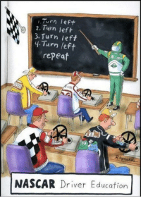 Driving, Nascar, and Education: 2, 14 left  3. Turn left  4.Turn /ef  repeaf  NASCAR Driver Education <p>Nascar driving lessons.</p>