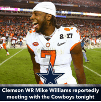 Mike Williams had 98 receptions, 1361 receiving yards and 11 TD's in his 2016 season with Clemson. If Terrance Williams or Brice Butler sign elsewhere this upcoming free agency, this COULD be a potential replacement, depending on when he is drafted. DallasCowboys: 2 17  ACC  Clemson WR Mike Williams reportedly  meeting with the Cowboys tonight Mike Williams had 98 receptions, 1361 receiving yards and 11 TD's in his 2016 season with Clemson. If Terrance Williams or Brice Butler sign elsewhere this upcoming free agency, this COULD be a potential replacement, depending on when he is drafted. DallasCowboys