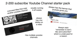 """The 2-200 scale of subscribers starter pack: 2-200 subscribe Youtube Channel starter pack  overused titles that copy  another youtube channel  always has the banner that  youtube gives you  usually running  it off mobile  asdfmovie 1-11  (Complete Collection)  DarkSquidge  14M views 1 year ago  always  has one  dislike on  ASDFMOVIE 2024  COLLECTION  Pigeon_man  SUBSCRIBE 185 subscribers  a video  Zxcv, Asdf but a lot worse  2 subscribers 2 videos  Always says  """"remember to don't  SUBSCRIBE  like and subscribe!""""  Has multiple youtube  which is underused for  channels  a reason The 2-200 scale of subscribers starter pack"""