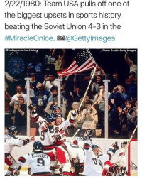 Tag someone who loves the USA! 🇺🇸🇺🇸🇺🇸 👇🏻👇🏻 Credit: @todayinamericanhistory: 2/22/1980: Team USA pulls off one of  the biggest upsets in sports history,  beating the Soviet Union 4-3 in the  #MiracleOnlce. io a Getty Images  IG today inamericanhistor  Photo Credit: Getty Images  BROEN Tag someone who loves the USA! 🇺🇸🇺🇸🇺🇸 👇🏻👇🏻 Credit: @todayinamericanhistory