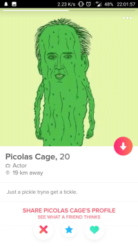Friend, Tickle, and What: 2.23 K/s OO 4 48% 22:01:57  4G+  Picolas Cage, 20  Actor  19 km away  Just a pickle tryna get a tickle.  SHARE PICOLAS CAGE'S PROFILE  SEE WHAT A FRIEND THINKS Picolas Cage