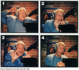 Nintendo, Party, and Wario: 2  3  4  Source: Nintendo Power (US), Issue 163, 2002 Charles Martinet during a recording session for Mario Party 4, doing lines for Mario (1), Luigi (2), Waluigi (3), and Wario (4)
