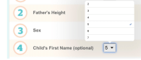 Sex, Name, and First: 2  3  4Child's First Name (optional)  Father's Height  4  Sex  5