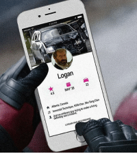 Memes, 🤖, and Clan: 2:30PM  Logan  MAY 28  4.5  Clan  Canada  KRS-One Wu-Tang  Aberta, Technique  make living  n Immortal a to trying ordinary mutant.  definitely FRIENDS  LOGAN  HASN Would you take the ride? 🤙 by @bosslogic of course 👍 deadpool logan