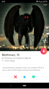 7/11, 9/11, and join.me: 2:32  Mothman, 18  n Parking Lot Cryptid at Big W  9 11 km away  Just looking for people to join me outside 7/11 at 3  am to stare at the lights and also do ketamine Instant right swipe