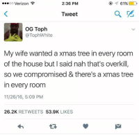 toph: 2:36 PM  OO  Verizon  61%  Tweet  OG Toph  TophWhite  My wife wanted a xmas tree in every room  of the house but said nahthat's overkill  so we compromised & there's axmas tree  In every room  11/26/16, 5:09 PM  26.2K  RETWEETS  53.9K  LIKES