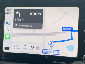 Which way do you want me to go Apple maps??: 2:57  600 ft  ull LTE  87th Pl  r Dunkirk Ln N  87th Pl  3:17  arrival  20  9.3  mi  min  Everest Ln N  ccnocn  ((SiriusXm) HDRadin Which way do you want me to go Apple maps??