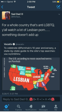 Blackpeopletwitter, Dad, and Lmao: 2:59 PM  54%  ..ooo Sprint  Tweet  Sad Dad  @Mofaye  For a whole country that's anti LGBTQ,  y'all watch a lot of Lesbian porn  something doesn't add up  Vocativ @vocativ  To celebrate @PornHub's 10 year anniversary, a  state-by-state guide to the site's top searches:  voc.tv/2r00Vnc  The U.S. according to most-searched terms  on Pornhub  TEP STEPAR  STEP MOM  CARTOON  SISTER  STEP  SISTER  STEP STEP MOM  ISTER CARTOM LESBIAN  MILF  LESBIAN  STEP HOM  STEP  5/26/17, 5:37 PM  Reply to Sad Dad , R  A N  Home  Explore Notifications Messages <p>Lmao so southerners can watch LGBTQ porn but can&rsquo;t support it (via /r/BlackPeopleTwitter)</p>