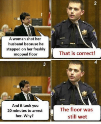 Funny, Lol, and Memes: 2  A woman shot her  husband because he  stepped on her freshly  mopped floor  That is correct!  4  3  And it took you  20 minutes to arrest  her. Why?  The floor was  still wet CopHumor CopHumorLife Humor Funny Comedy Lol Police PoliceOfficer ThinBlueLine Cop Cops LawEnforcement LawEnforcementOfficer SheepDog BlueFamily Protect OhDear