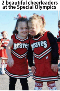 Beautiful, Memes, and Waves: 2 beautiful cheerleaders  at the Special Olympics  A Brave Waves  HEER  CH Aren't they amazing? 💪🏆❤