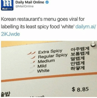 Memes, Daily Mail, and Mail: 2 Daily Mail Online  @MailOnline  MailOnline  Korean restaurant's menu goes viral for  labelling its least spicy food 'white  dailym.ai/  2iKJwde  Extra Spicy  oRRHHI  Regular Spicy  Medium  Mild  White  8.85 LMAO I HONESTLY WOULD PROBABLY HAVE TO ORDER WHITE BC IM TOO WHITE