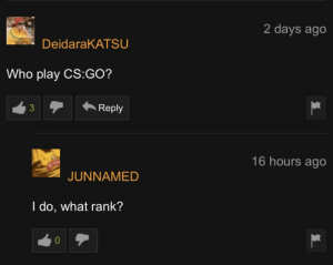 Pornhub comment section at its finest: 2 days ago  DeidaraKATSU  Who play CS:GO?  3Reply  16 hours ago  JUNNAMED  l do, what rank?  0 Pornhub comment section at its finest