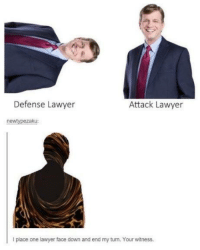 Me💊irl: 2  Defense Lawyer  Attack Lawyer  newtypezaku:  I place one lawyer face down and end my turn. Your witness. Me💊irl