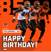 Birthday, Memes, and Happy Birthday: 2  EA  ER  010978  CHAD JOHNSON | WR  HAPPY  BIRTHDAY He's still wide open.  HAPPY BIRTHDAY, @ochocinco! 🎂8⃣5⃣ https://t.co/VJ90KOm8sN