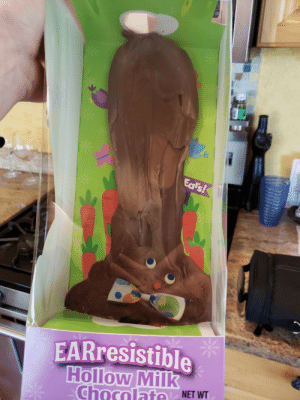 Easter, Chocolate, and Car: 2  EARresistible  ChocolNET WT Forgot to take the chocolate Easter bunny out of the car..