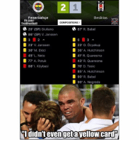 Memes, fb.com, and Pepe: 2  Fenerbahce  Besiktas Nedephp  Fb.com/  TrollFootball  COMPOSITIONS>  % 20' (SP) Giuliano  % 86' (SP) V. Janssen  87' R. Babel  3 2  23' V. Janssen  30' M. Ekici  45' L. Neto  77, A. Potuk  88, l. Kdybas.  23' O. ǒzyakup  36' A. Hutchinson  41' R. Quaresma  43' R. Quaresma  78' D. Tosic  85' A. Hutchinson  90' R. Babel  90' A. Negredo  ddidnt evenget ayellowicard That moment when there is 🔶 11 yellow cards and 🔴 5 red cards and Pepe didn't even get 1