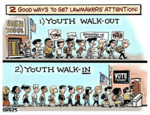 Good, Star, and Today: 2 GOOD WAYS TO GeT LAWMAKeRS'ATTeNTion:  HGHI )YoUTH WALK-OUT  2  GUN  TRE  ORM  0  WE  2.) YOUTH WALK-IN  VOTE  TODAY  STAR TRI  BUNE