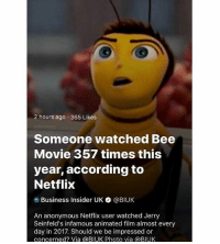 Bee Movie, Memes, and Netflix: 2 hours ago 365 Likes  Someone watched Bee  Movie 357 times this  year, according to  Netflix  Business Insider UK * @BIUK  An anonymous Netflix user watched Jerry  Seinfeld's infamous animated film almost every  day in 2017. Should we be impressed or  concerned? Via @BIUK Photo via @BIUK @shitheadsteve is an absolute must follow if you like memes 😂
