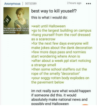 """Bodies , Dank, and Halloween: 2 hours ago  Anonymous  30732589  best way to kill youself?  this is what i would do:  wait until Halloween  [he highest lam is natutEontEtht  go to the largest building on campus  greatest misbom fortutrlioEsanit ttttnol fastism.  >hang yourself from the roof dressed  as a SCareCroW  >for the next few days everyone will  make jokes about the dank decoration  >few more days pass and normies  start wondering where Anon is  after about a week ppl start noticing  a strange smell  then some school staffers cut the  rope of the smelly """"decoration""""  your soggy rotten body explodes on  the pavement below  im not really sure what would happen  if someone did this. it would  absolutely make national news and  possibly end Halloween"""