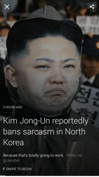 Kim Jong Un Memes: 2 HOURS AGO  Kim Jong-Un reportedly  bans sarcasm in North  Korea  Because that's totally going to work  Photo via  @Jezebel  SWIPE TO BEGIN