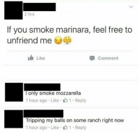 Unfriend Me: 2 hrs  If you smoke marinara, feel free to  unfriend me  I Like  Comment  l only smoke mozzarella  1 hour ago Like 1 Reply  Tripping my balls on some ranch right now  1 hour ago . Like- 1-Reply