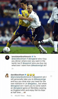 Being Alone, Dank, and England: ?2  iamzlatanibrahimovic Yo  @davidbeckham if @england wins I buy  you dinner where ever you want in the  world, but if @swemnt wins you buy me  what ever I want from @ikeasverige ok?  2h  @iamzlatanibrahimovic if @swemnt win I  will personally take you to @ikeasverige  and buy you what ever you need for the  new mansion in LA @lagalaxy, but when  @england win I want you to come watch  an @england game at Wembley wearing  an England shirt and enjoy fish & chips  at half time  h 49,057 likes Reply If England or Sweden wins, I'll have dinner alone.