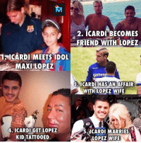Crazy, Memes, and Wife: 2. ICARDI BECOMES  FRIEND WITH LOPEZ  1ICARDI MEETS IDOL  MAXI LOPEZ  gamen  3. ICARDI HAS AN AFFAIR  WITH LOPEZ WIFE  4. ICARDI GET LOPEZ  KID TATTOOED  5.11CARDI MARRIES  LOPEZ  WIFE Crazy story!