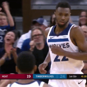 Andrew Wiggins scored 16 of his 25 PTS in the final 6 minutes of the 4th!   @Timberwolves are now 3-0  https://t.co/lfQifkW5gk: 2  itbit  WOLVES  47  24 1st Qtr  19  НЕАТ  TIMBERWOLVES  4:18 Andrew Wiggins scored 16 of his 25 PTS in the final 6 minutes of the 4th!   @Timberwolves are now 3-0  https://t.co/lfQifkW5gk