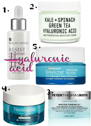 Complex, Tumblr, and Blog: 2  KALE SPINACH  GREEN TEA  HYALURONIC ACID  AGE PREVENTION MOISTURE CREAM  PAULA'S CHOICE  RESIST  AC  5  GARNICR Moisture  SKINACTIVE Bomb  The Antioxidant Super Moisturiz  Le super hydratant antioxydant  20 ml /0.67 fl. oz  PETERTHOMASROTH  CLINICAL SKIN CARE  WATER DRENCH™  UR ACI CYALURONIQUE  Neutrogena  30% hyaluronic acid complex draws atmospheric vapor  helps lock in hydration for up to 72 hours  for all skin types  Hydro  gel-cream  48 ML16 FL OZ  HYALURONIC ACID awesomage:    Hyaluronic Acid For Plumper Skin
