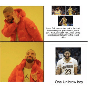 Basketball, New Orleans, and The All: 2  MAKERS  Lonzo Ball, number two pick in the draft,  Brandon Ingram, part of the all rookie  2017 team, and Josh Hart, Julius Erving  award recipient plus three first round  picks  NEW ORLEANS  23  One Unibrow boy For the basketball fans