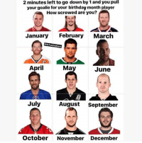 COMMENT⬇️⬇️😂🏒: 2 minutes left to go down by 1 and you pull  your goalie for vour birthday month player  How screwed are you?  January  February  March  NHLTrashtalkers  April  Ma  June  July  August  September  October November December COMMENT⬇️⬇️😂🏒