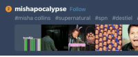 "Target, Tumblr, and Blog: 2 mishapocalypse Follow  #misha collins #supernatural #spn #destiel  tumblr  Cu <p><a href=""http://astroboyomegafactor.tumblr.com/post/172493770620"" class=""tumblr_blog"" target=""_blank"">astroboyomegafactor</a>:</p> <blockquote><p><figure class=""tmblr-full"" data-orig-height=""210"" data-orig-width=""540""><img src=""https://78.media.tumblr.com/088e12670ff0ee0102e119d78aa2111a/tumblr_inline_p6iy6aanzY1uucgu9_540.jpg"" data-orig-height=""210"" data-orig-width=""540""/></figure></p></blockquote>"