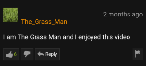 Video, Grass, and Man: 2 months ago  The_Grass_Man  I am The Grass Man and I enjoyed this video  Reply An interesting title