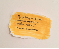 Philosophy, Means, and Newt: 2)  My philosophy is t  worrying means you  suffer twice  12  Newt Scamander