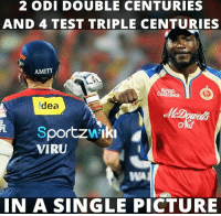 Memes, Chris Gayle, and 🤖: 2 ODI DOUBLE CENTURIES  AND 4 TEST TRIPLE CENTURIES  AMITY  ldea  portzwalki  VIRU  IN A SINGLE PICTURE Too much destruction in a single picture!  Virender Sehwag and Chris Gayle <3