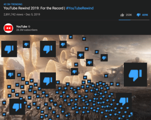 Bad, youtube.com, and Record:  #2 ON TRENDING  YouTube Rewind 2019: For the Record   #YouTubeRewind  2,891,742 views • Dec 5, 2019  253K  409K  YouTube  28.3M subscribers  JI it's really not that bad tho ngl