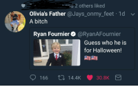 Bitch, Blackpeopletwitter, and Halloween: 2 others liked  Olivia's Father @Jays_onmy_feet 1d  A bitch  Ryan Fournier@RyanAFournier  Guess who he is  for Halloween!  166 t0 14.4K 30.8K <p>Don&rsquo;t let your child be a fuck nigga for Halloween. (via /r/BlackPeopleTwitter)</p>