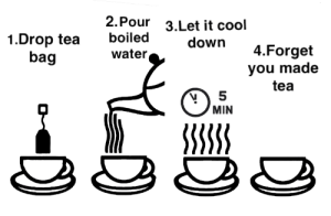 Cool, Time, and Water: 2.Pour  3.Let it cool  1.Drop tea boiled  water  down 4.Forget  you made  tea  bag  MIN  533 Every time