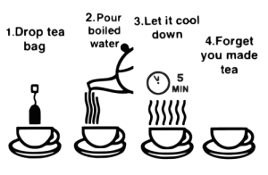 Cool Tea How-To: 2. Pour  3.Let it cool  boiled  1.Drop tea  bag  down  4.Forget  water,  you made  tea  MIN  SSSSS Cool Tea How-To